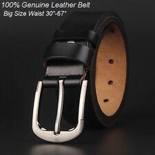 Men's Belt 100% Genuine Leather Fashion Black/Brown Big Size Length100-170cm