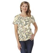 Women's Missy Laura Scott Crew Neck Tee Shirt Khaki Floral Size SMALL NEW