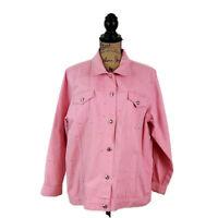 Quacker Factory Womens sz L Pink Sparkle & Shine Denim Jeanne Jacket Studded