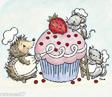 New Stampavie CRITTERS DECORATING A CUPCAKE Clear Stamp Birthday