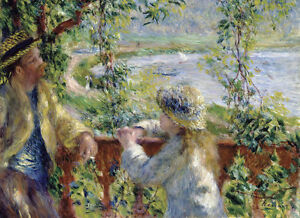 """RENOIR - By the Water Near the Lake - *FRAMED* CANVAS ART 24x16"""""""