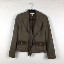 CAbi Women's Size 2 Kensington Brown Wool Blend Ruffled Lapel Blazer Jacket