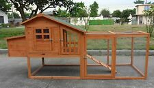 """Large 85"""" Deluxe Solid wood Hen Chicken Cage House Coop Huge w Run nesting box"""