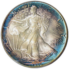 1986 $1 Silver Eagle PCGS MS68 ( Nicely Toned ) Traditional Blue Label.