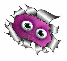 LARGE CLASSIC Ripped Torn Metal Rip & Cute Fluffy PINK Monster eyes Car sticker