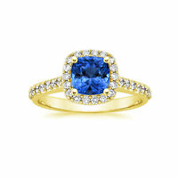 Blue Sapphire Natural Gemstone Rings 2.00 ct Diamond Ring Solid 14kt Gold SDF