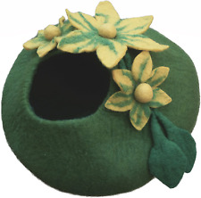Earthtone Solutions Cat Cave Bed, Unique Green Handmade Felted Wool, Large Cover