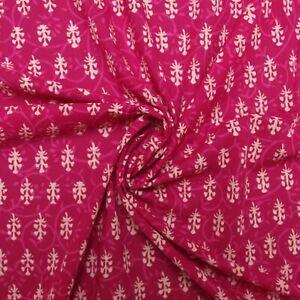 Hot Pink Bagru Block Print By Meter Indian 100% Cotton Women Dress Craft Fabric