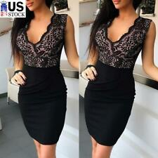 Women's Sexy Lace V Neck Bodycon Dress Ladies Party Night Club Cocktail Dresses