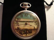 1930s Westclox 16s Pocket Watch Graf Zeppelin Theme Dial & Case Runs Well.