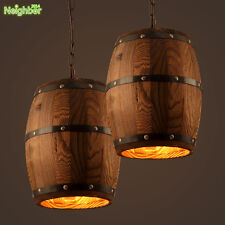 Country Wood Wine Barrel Hanging Fixture Ceiling Lamp Pendant Light for Bar Cafe