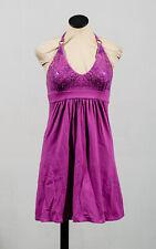 Victoria Secret Bra Top Sequin Purple Pink Cotton Halter Knit V-Neck Dress Sz S
