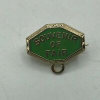 Vtg SOUVENIR OF FAIR Small Sweetheart Tie Tac Lapel Pin Gold Tone + Green  M6