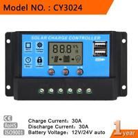 LCD 30A 12V 24V PWM Solar Panel Battery Regulator Charge Controller Timer GA
