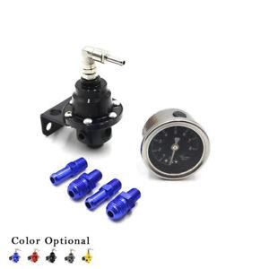 Universal Adjustable Auto Car Fuel Pressure Regulator + Gauge+ Fitting Kit Black