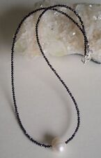 super dünne facettierte Spinell Kette, 925er Silber Schloss - schwarzer Diamant