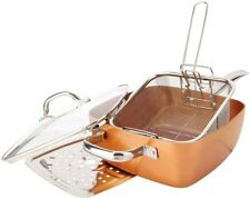 Copper Square Pan, 5 piece set with Frying Basket, Steamer Rack, and Recipe Book