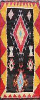 Vintage Tribal Geometric Moroccan Oriental Runner Rug Hand-knotted Hallway 4'x9'