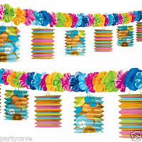 TIKI HAWAIIAN TROPICAL BEACH PARTY PAPER GARLAND LANTERNS LEI FLOWER DECORATIONS