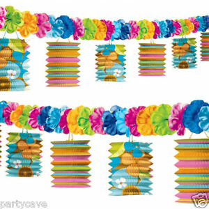 Tiki Hawaiian Tropical Beach Party Paper Garland Lanterns Lei Flower Decorations