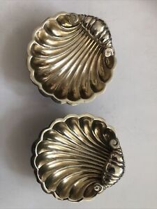 Pair Edwardian Sterling Silver Shell Salts With Gilded Interior & Ball Feet 1909