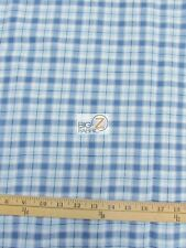"TARTAN PLAID UNIFORM APPAREL FLANNEL FABRIC Light Blue 60"" WIDE BY THE YARD 15"