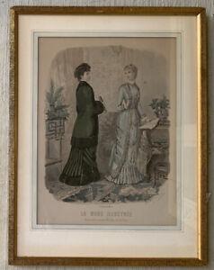 1800's Leroy imp Paris Framed Signed lithograph La Mode Illustrée French