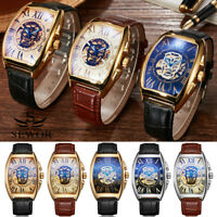Automatic Skeleton Mechanical Leather Square Punk Men Wrist Sport Watch Gift Box