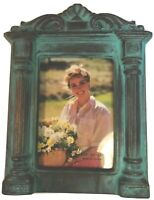 Terra Cotta Blue/Gold Glazed Pottery Rectangle Picture Frame