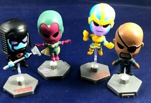 VISION, RONAN, THANOS, NICK FURY - 4 MARVEL 2 INCH MINI BOBBLEHEADS W/ STANDS