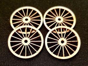 Dollhouse Miniature Set of 4 Wagon Wheels / Cart Wheels - 1:48 (Quarter) Scale