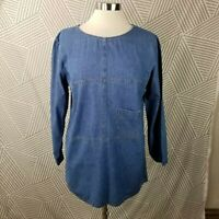 Vintage Denim Shirt Size Medium casual Jean Pocket patchwork lagenlook Tunic Top