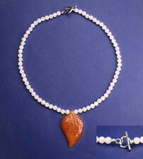 Snow jade bead necklace with brown jade leaf pendant NKL370008
