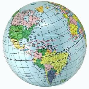 2 INFLATABLE 12 INCH BLUE WORLD GLOBE inflate earth ball sphere novelty map new