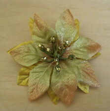 """3 1/4"""" Gold/Bronze Poinsettia Silk Flower Brooch Pin Christmas, Holiday, Party"""