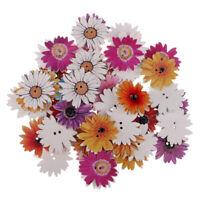 50pcs Daisy Flower Wooden Buttons Embellishment for Scrapbooking Cardmaking