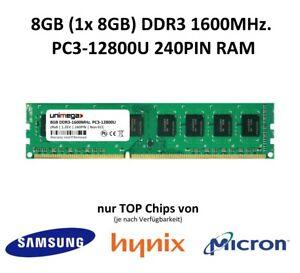 8GB (1x 8GB) DDR3 1600MHz PC3L-12800U 240PIN 1,35V 3rd. PC RAM Speicher Memory