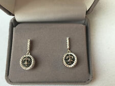 Dangling Earrings Fleur - de - Lis, Sterling Silver, Cubic Zirconia, Micro Pave