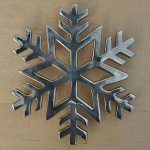 "Crate and Barrel ~ Snowflake Trivet ~ Metal Silver Colored ~ 7"""