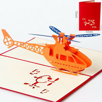 1 stk POPUP Karte Hubschrauber Flugzeug 3D Klappkarte Glückwunschkarte Grußkarte