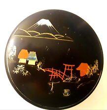 Japan Black Lacquerware sauce nesting coasters Mt.Fuji handpainted mother pearl