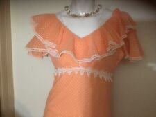 Vtg 1970s Ilgwu Coral Polka Dot Ruffled Flutter Collar Maxi Lacy Prarie Dress