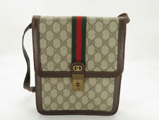 AUTH GUCCI PURFUMS VINTAGE GG SHERRY PVC LEATHER SHOULDER BAG EY261