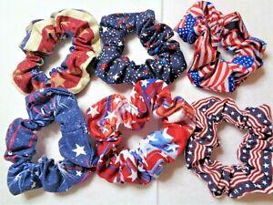 Handmade Fourth of July Patriotic Hair Scrunchies Ties