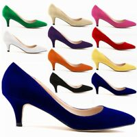 Ladies Low Mid Kitten Heels Office Faux Suede Pointed Toe Pumps Shoes Size 35-42