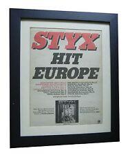 STYX+Grand Illusion+TOUR+POSTER+AD+RARE ORIGINAL 1978+FRAMED+EXPRESS GLOBAL SHIP
