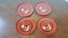 Vintage Japanese Lacquerware Plates Set Of 4 / Made In Japan