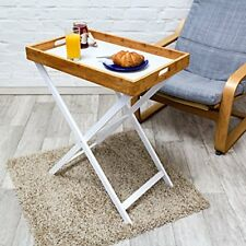 Relaxdays table D appoint pliable Bambou Plateau amovible HxLxP 72 x 60 40...