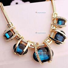 Fashion Women Crystal Pendant Chain Choker Chunky Statement Bib Blue Necklace FF