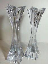 "Mikasa Crystal Candlestick Holders 10"" Pair  Florale Lead Crystal Czech Republic"